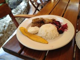 arroz platano churrasco carne