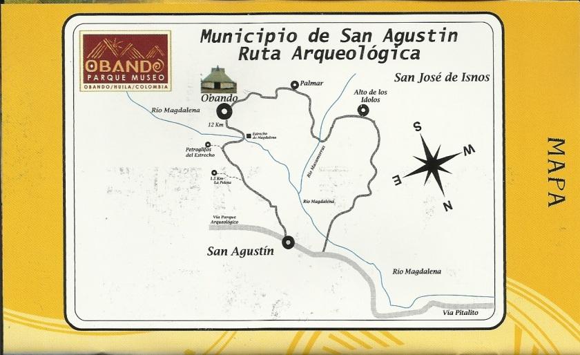 Lageplan der archäologischen Stätten in San Agustin