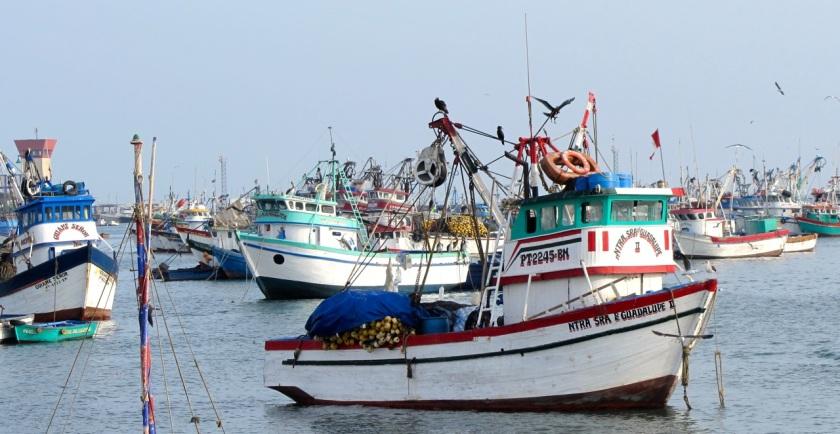 Fischerboote im Hafen Paita